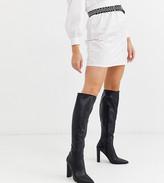 Asos Design DESIGN Wide Fit Coral heeled knee high boots in black