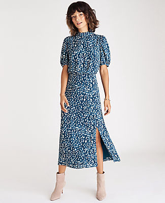 Ann Taylor Spotted Puff Sleeve Midi Flare Dress