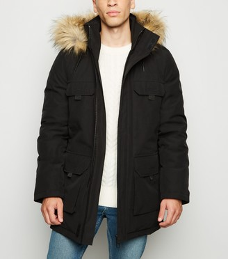 New Look Hooded Faux Fur Trim Parka Coat