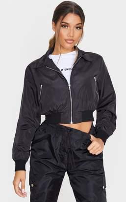 PrettyLittleThing Black Zip Up Collar Bomber