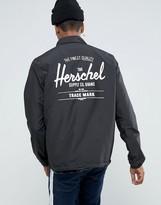 Herschel Voyage Packable Coach Jacket Back Logo Print in Black UK EXCLUSIVE