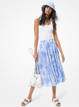 MICHAEL Michael Kors MK Tie Dye Georgette Pleated Skirt - Crew Blue - Michael Kors