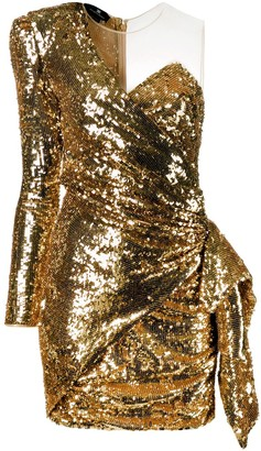 Elisabetta Franchi Sequinned One-Shoulder Mini Dress