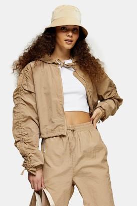 Topshop Womens Beige Shell Cropped Jacket - Beige