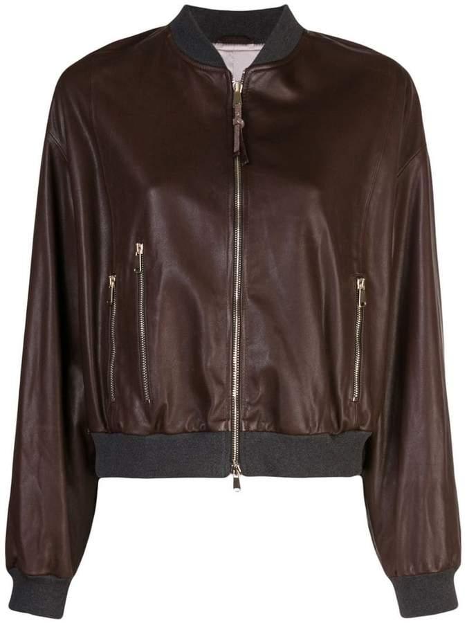 5fd62ea12 Leather Sleeve Bomber Jacket - ShopStyle UK