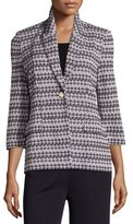 Misook Houndstooth-Print 3/4-Sleeve Jacket, Navy/New Ivory, Plus Size