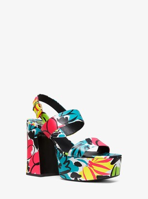 Michael Kors Collection Blaire Floral Leather Platform Sandal