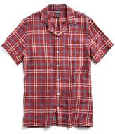 Todd Snyder Short Sleeve Camp Collar Shirt in Red Plaid