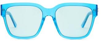 Balenciaga Logo-plaque Square Acetate Sunglasses - Blue