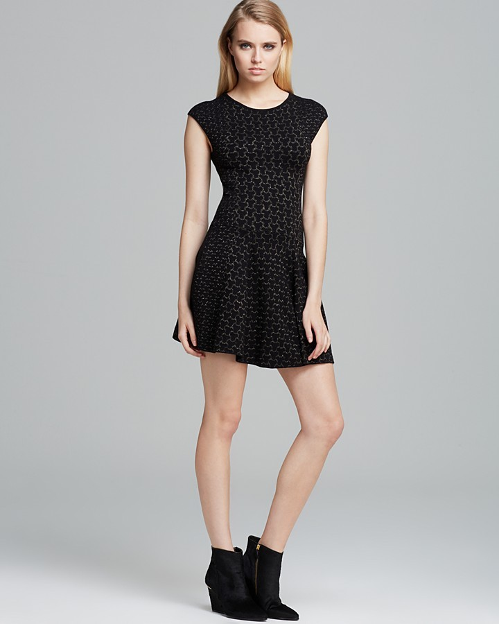 Torn by Ronny Kobo Dress - Malu Fit and Flare Jacquard