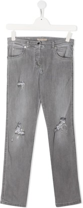 Ermanno Scervino TEEN distressed details jeans
