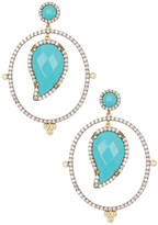 Freida Rothman 14K Gold & Rhodium Plated Sterling Silver CZ Paisley Turquoise Drop Earrings
