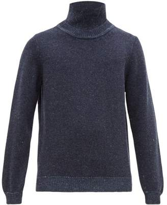 Inis Meáin Funnel Neck Merino Blend Sweater - Mens - Blue