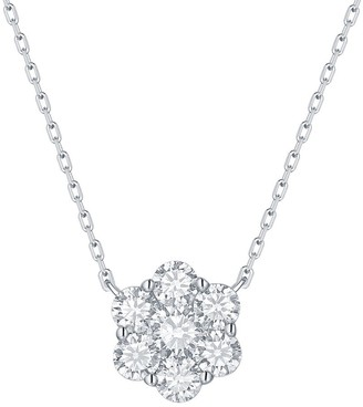 Lab Grown Diamond Cluster Flower Necklace, 1 Ctw 10K Solid Gold by Smiling Rocks