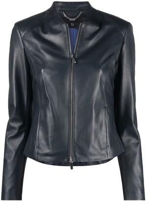 Arma Collarless Leather Jacket