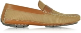 Moreschi Bahamas Tan Perforated Nubuck Driver Shoes w/Rubber Sole
