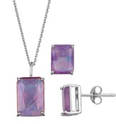 Mother of Pearl Unbranded Sterling Silver Rectangular Mother-of-Pearl Pendant & Stud Earring Set