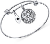 "Unwritten Best Friends Swim Together"" Bangle Bracelet in Stainless Steel and Silver-Plate"