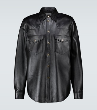 Gucci Leather overshirt with logo