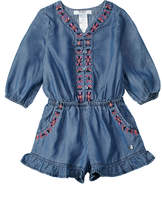 Bebe Girls' Embroidered Denim Romper