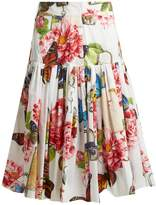 Dolce & Gabbana Butterfly and padlock-print cotton-poplin skirt