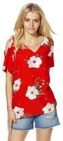 F&F Floral Print Jersey Back Cold Shoulder Top, Women's