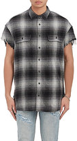 R 13 Men's Checked Cotton-Silk Oversized Distressed Shirt