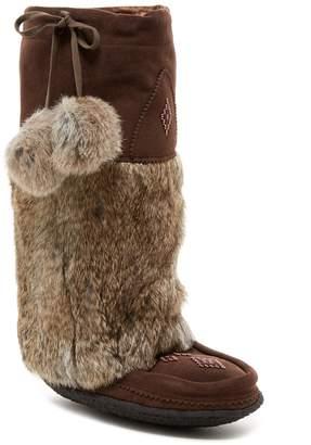 Manitobah Mukluks Genuine Rabbit Fur & Genuine Sheepskin Lined Classic Tall Suede Mukluk Crepe
