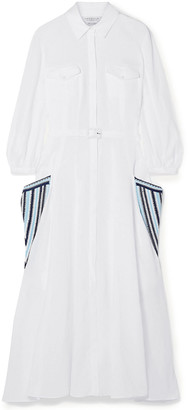 Gabriela Hearst Woodward Belted Crochet-trimmed Linen-gauze Midi Shirt Dress