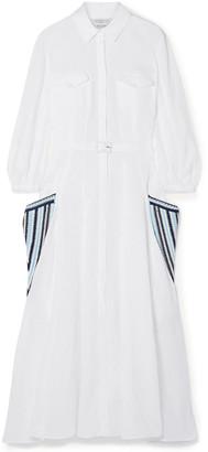 Gabriela Hearst Woodward Belted Crochet-trimmed Linen Midi Dress