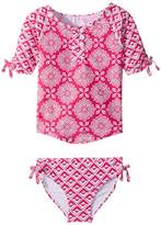 Hatley Pink Medallions Rashguard Set Girl's Swimwear Sets