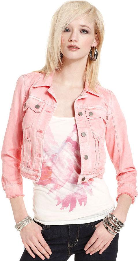 GUESS Jacket, Danni Denim Pink-Wash Cropped