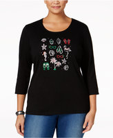 Karen Scott Plus Size Holiday Flip-Flop Graphic Top, Only at Macy's