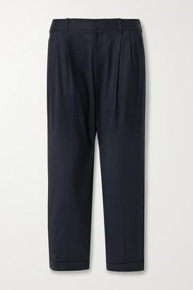 Nili Lotan Montana Pleated Wool-blend Twill Tapered Pants - Midnight blue