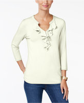 Charter Club Ruffled Split-Neck Top, Only at Macy's