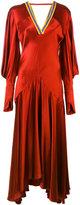 Roksanda gathered sleeve V-neck dress - women - Silk - 12