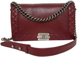Chanel Boy Burgundy Leather Handbags