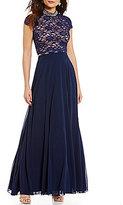 Jodi Kristopher Two-Piece Mock Neck Open-Back Cap-Sleeve Lace Top Long Dress