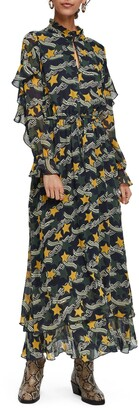 Scotch & Soda Print Long Sleeve Ruffle Maxi Dress