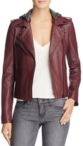 Linea Pelle Hooded Leather Moto Jacket