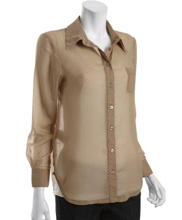 BCBGeneration desert combo mini triangle print sheer chiffon blouse