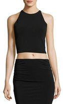 Alice + Olivia Theodora Fitted Lace-Back Crop Top, Black