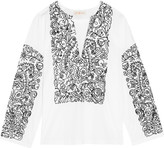 Tory Burch Embroidered cotton-poplin tunic