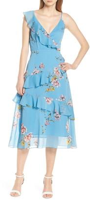 AVEC LES FILLES Painterly Boutique Ruffle Georgette Dress