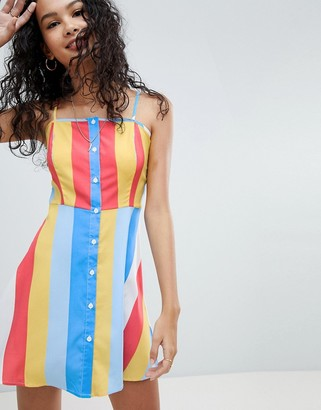 Influence Button Front Rainbow Stripe Sundress