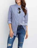 Charlotte Russe Striped Pocket Button-Up Shirt