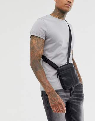 Calvin Klein up mini flat crossover flight bag-Black