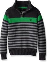 Calvin Klein Big Boys' Track Stripe Half Zip Sweater, Dark Charcoal, Medium