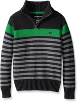 Calvin Klein Little Boys' Track Stripe Half Zip Sweater
