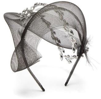 Stephen Jones Crystal-embellished Crinoline Fascinator Headband - Black